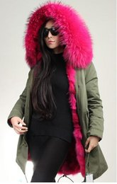 Wholesale Fiber Fox - Real Fox fur Liner for Ladies Long furs parkas large raccoon fur collar women classic green jacket