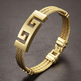 Wholesale Color Metal Bangle - High Quality gold Color stainless steel men bracelet jewelry punk heavy metal bracelets & bangles Great Wall Pattern Bracelet