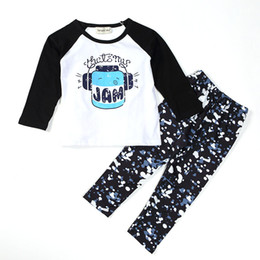Wholesale Long Sleeve Newborn Outfits - Newborn children clothing sets Boys Girls Toddler Kids long sleeve T shirt Tops Leggings Outfit Clothes letter print Sets