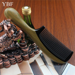 Wholesale Wooden Handle Hair Comb - Wholesale-Free shipping diaphanous handmade Natural ox horn Green sandalwood comb wooden handle combs hair style 17.5 cm*4.5cm for ladies