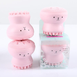 Wholesale Face Wash Blackheads - 600Pcs NEW Wash Brushes Super Little Cute Octopus Face Cleaner Massage Soft Silicone Facial Brush Face Cleansers Blackhead Spot Acne