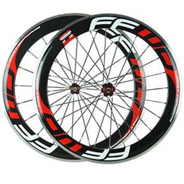Wholesale 24 Inch Road Wheel Set - Alloy Brake Surface Red Decal FFWD Full Carbon Bike Wheels 60mm Clincher 3K Matt Bicycle Wheelset Novatce 271 372 Hubs 20 24 Spokes