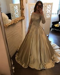 Wholesale Beautiful Red Nude Sleeves - Beautiful Gold Appliqued Prom Dresses Long Sleeve Lace Evening Party Gowns Sequined Satin Bateau Pageant Gowns Red Carpet Dress Custom Made