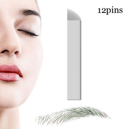 Wholesale Tattoo Needles For Sale Wholesale - Hot sale 50 Pcs Microblading Needles 12 pins for Microblading Embroidery Pen Pernement Makeup Eyebrow Tattoo Supplies