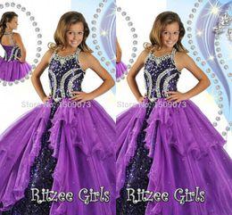 2019 corset de robe de soirée pour filles Pageant robes de haute vente de haute vente Purple Purple Girl 2019 Halter Neck Corset Dos Perles Sequin Ball robe Glitz Girl Dresses HY1141 corset de robe de soirée pour filles pas cher