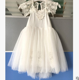 Wholesale Wholesale Christening - Newborn Christening Dresses Baby Girls lace floral embroidery long Baptism Dress kids tulle princess dress Royal family birthday dress T4951