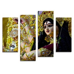 Wholesale Contemporary Art Prints - Amosi Art-4 Pieces Print on Canvas Contemporary Art Abstract Paintings Wall Decorations Paintings For Dancers in India With Wooden Framed