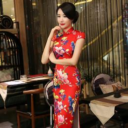 Wholesale Elegant Qipao - ree DHL EMS 2017 short sleeve long dress Qipao Silk Chinese Dress chinese style elegant cheongsam dress RED AND GREEN CORLO