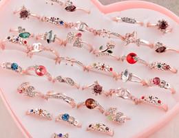 joyas de diamante al por mayor Rebajas Melocotón corazón 36 color de moda anillo de diamante de piedra Anillos plateados plata Nueva Venta al por mayor Lotes anillo de la joyería Envío Gratis