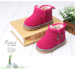 Wholesale Hot Leather Boots Girls - Hot Baby girl winter Genuine leather children's shoes children's snow boots leather toddler shoes baby soft bottom shoes