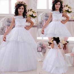 Wholesale Girls Fur Vests - 2017 New Lovely New Tulle Ruffled Handmade flowers One-shoulder Flower Girls' Dresses Girl's Pageant Dresses F2