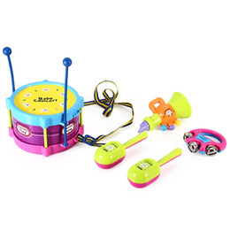 Wholesale Intelligence Games Kids - Drum Rattles Baby Toys Hand Drum Beat Rattles Educational Kids Toy Musical Game Instrument For Children Intelligence Development Toy Set