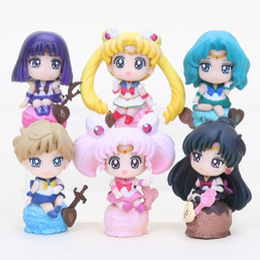 Wholesale venus figure - 6pcs lot Anime Sailor Moon figure Tsukino Usagi Tuxedo Mask Sailor Venus pvc action figure toys set 5-8cm