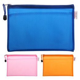 Wholesale A5 Folders - Wholesale- A5 Matte Gridding Waterproof Zip Bag Document Pen Filing Products Pocket Folder Free shipping Office & School Supplies