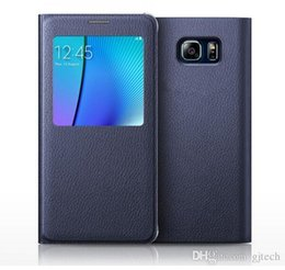Wholesale S4 Flip Case Battery Cover - Samsung Galaxy S4 S5 S6 S7 Edge Plus Note 3 4 5 A7 Protective Screen Guard Back Battery housing Cover Smart IC View Window Flip Leather Case