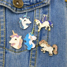 Wholesale Jacket Plating - Cartoon Unicorn Brooch Pin Button Jewelry Metal Enamel Animal White Horse Female Brooches Denim Jacket Pin Badge For Women Girls