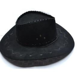 Wholesale Vintage Cowboy Hats - Wholesale-Vintage Wide Brim Stetson Faux Suede Cowboy Hat Cool Western Cowboy Cap Resistol Broadbrim Mens Hat Fashion