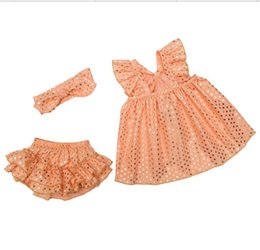 Wholesale Swing Dress Bloomers Set - 6 Colors Baby Girls Sparkle Swing Outfits Kids Girls Dress+Bloomer+headband 3pcs Sets Babies Sequin Dresses Vestido Polka Dot Suits TL181