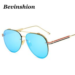 Wholesale Mirror Strips - HD Pilot Aviator Sunglasses Women Mirror Coating Color Lens Avation Sun Glasses Oversize Big Frame Shades Strip Legs Brand Drive Goggles