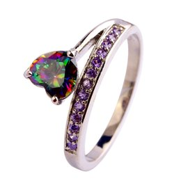 Wholesale Lab Gem - AAA CZ Lab Jewelry MultiColor Rainbow Topaz Gems 18K White Gold Plated Silver Ring Size6 7 8 9 11Women Free Shipping Wholesale
