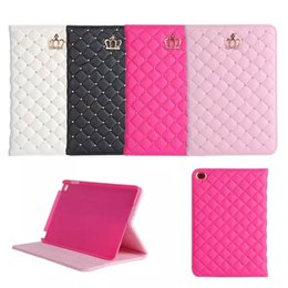 Wholesale Crown Textures - For iPad mini 4 lambskin texture fashion crown diamond rivets bracket protective cover for iPad mini 4 Luxury leather case cover