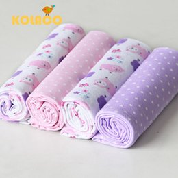 Wholesale Free Receiving Blankets - Children's newborn baby Blankets & Swaddling Free shipping 4Pcs pack 100% cotton supersoft flannel receiving baby blanket 76*76CM multicolor