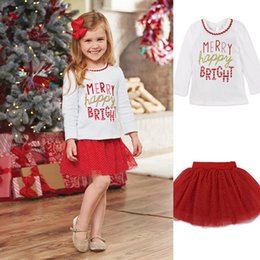Wholesale Bubble Sweet - Baby Girls Christmas Sets Long Sleeve Letter T-Shirt+Tulle Skirt Dot Bubble Skirts Sweet Boutique Clothing Sets Outfits