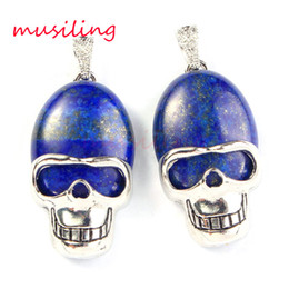 Wholesale Skull Bead Crystals - Skull Pendants Necklace Chain Pendulum Mens Jewelry Natural Gem Stone Oval Bead Accessories Silver Plated Fashion Jewelry