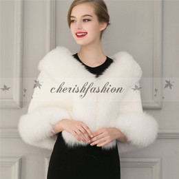 Wholesale Bridesmaids Faux Fur - New winter outerwear women clothing Faux Fur Coat bridal gown bridesmaid fur shawl cape coat Z430-B