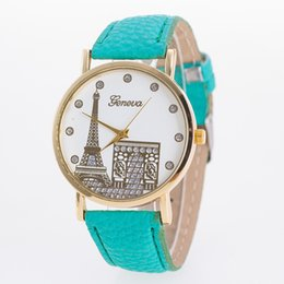 Wholesale Blue Contracts - 200pcs Geneva imitation leather watch Popular contracted Geneva, Geneva watch fashion watch wrist of Paris Eiffel Tower