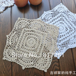 Wholesale Free Crochet Placemats - Wholesale- free shipping 5 pic lot 28cm square crochet cotton felt cup pad for dining table decoration disc pads placemats lace doilies ma