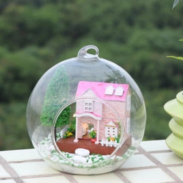 2017 home light kit Venta al por mayor rosa princesa casa en miniatura casa de muñecas de cristal DIY mini casa de cristal bola mano casa de muñecas con luces LED diy hada artesanal kit home light kit outlet
