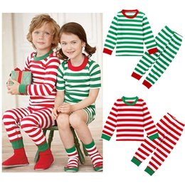 Wholesale Fancy Pajamas - 2016 New Christmas Children Pajamas Boys and Girls Red Green and White Striped Clothing Set Kids Fancy Clothes