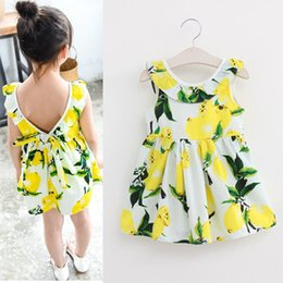 Wholesale Sundresses For Kids - Fashion Girls Lemon Dress Children Sundress Baby Girls Clothes V-back Ruffles Bowknot Dress for Kids Girl Dress Summer