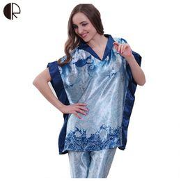 Wholesale Sleepwear Pajama Pants Woman - Wholesale-2016 New Arrival Women Sexy Print Pajama Set Loose Short Sleeve Top & Long Pant Sleepwear Home Clothing Soft Underwear AP284