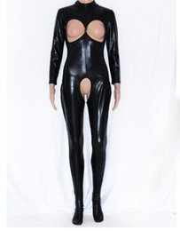 Wholesale Sexy Open Cup - Wholesale- Dower Me Playsuit Catsuit Fashion Faux Leather Jumpsuit Costume Vinyl Sexy Open cup Open crotch vinyl romper jumpsuit W7908
