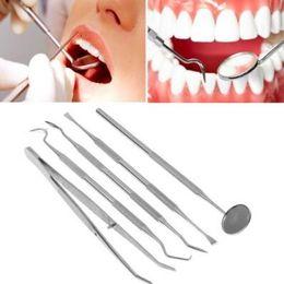Wholesale Wholesale Professional Teeth Whitening Kit - Professional Stainless Steel Dental Tool Dentist Teeth Clean Hygiene Explorer Probe Hook Teeth Care Kits Teeth Whitening Tool CCA7673 50set