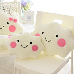 Wholesale Cloud Tv - Free shipping Kawaii soft Smiley Face Bow Cloud pillow 100% Cotton Stuffed Back Cushion Seat Cushion Christmas gifts plush toy