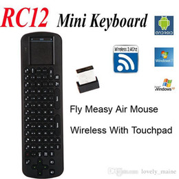 Wholesale Tv Pc Usb Stick - Wholesale Touchpad Measy Fly Air Mouse RC12 2.4G Wireless Keyboard Gyroscope Game Handheld Remote Control for Android Mini PC TV Box Stick