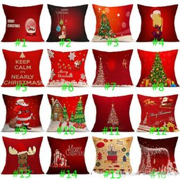 Wholesale Pillow For Massage - 2017 Christmas Pillow Case Cushion Cover Christmas Gifts Flax Pillow Covers for Car Santa Claus Christmas Tree Home Decoration