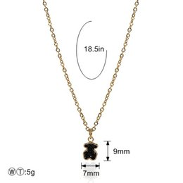 Wholesale Black Pearls Necklaces - TL Noble Designer Stainless Steel Pendant Necklace Gold Silver Filled Black Zircon Bear Shaped Pendant Women Necklace