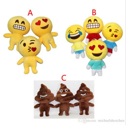 expressions games Promo Codes - 10 Design 20cm Lovely QQ Expression Emoji  Shits Poop Smiley Pillows Cartoon Cushion Pillows Yellow Round Emoji Plush Doll Toy B