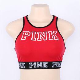 Wholesale winter running shirts - Women Pink Letter Bra Running Sports midriff-baring Shirt Yoga Gym Vest Push Up Fitness Crop Tops for Big Grils Ladies Underwear Bras