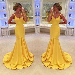 2019 nouvelles robes de robes d'arrivée 2017 New Arrival Mermaid Yellow Robes de soirée formelles Spaghetti Straps Prom Promenade de fête Ruffles Sweep Train Red Carpet Dresses nouvelles robes de robes d'arrivée pas cher
