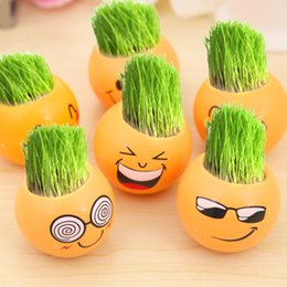 Wholesale Wholesale Decorative Plant Pots - Cartoon Emoji Decorative Planter Lovely Yellow Smiling Face Plant Pot For Many Styles Home Decor Gift 2 56kl C R