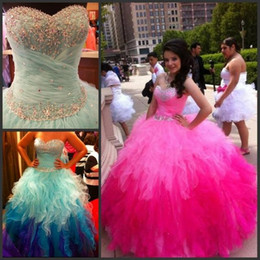 Wholesale Colorful Sweet 16 Dresses - Cascading Ruffles Rainbow Colorful Quinceanera Dresses 2016 Blue Fushcia Crystal Beadings Tulle Ombre Ball Gown Sweet 15 Prom Dresses