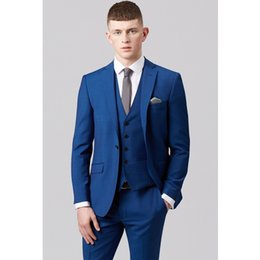Costumes sur mesure skinny en Ligne-Costumes pour hommes Mariage Groom Bleu Hommes Costumes Slim Fit Blazer Skinny 3 Pièces Smokings Casual Costumes PromParty (veste + pantalon + gilet) Custom Made