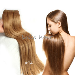 Wholesale Wholesale Top Quality Brazilian Hair - Top Quality Light Brown Hair Brazilian Hair Malaysian Indian Peruvian Hair Human Hair Weft Hair Extensions 100g pc free shipping Bella Hair