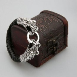 Wholesale Tibetan Charms Cheap - eather Tibetan silver men bracelet titanium fashion male vintage accessories parataxis dragon bracelet men jewelry Cheap jewelry boxes f...