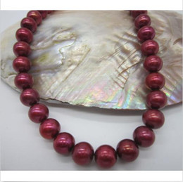 """yellow sea pearl Australia - beautiful 18"""" 9-10mm natural red south sea pearl necklace 14k yellow gold clasp"""